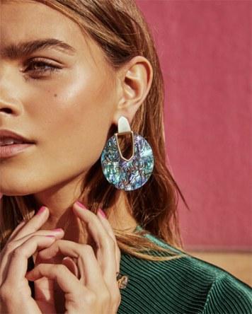 Diane Gold Satement Earrings in Abalone