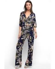 Abbeline Kimono Sleeve Surplice Printed Jumpsuit